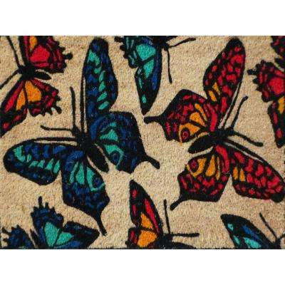 A1HC First Impression Butterflies 17.50 in. x 29.50 in. Coir Door Mat