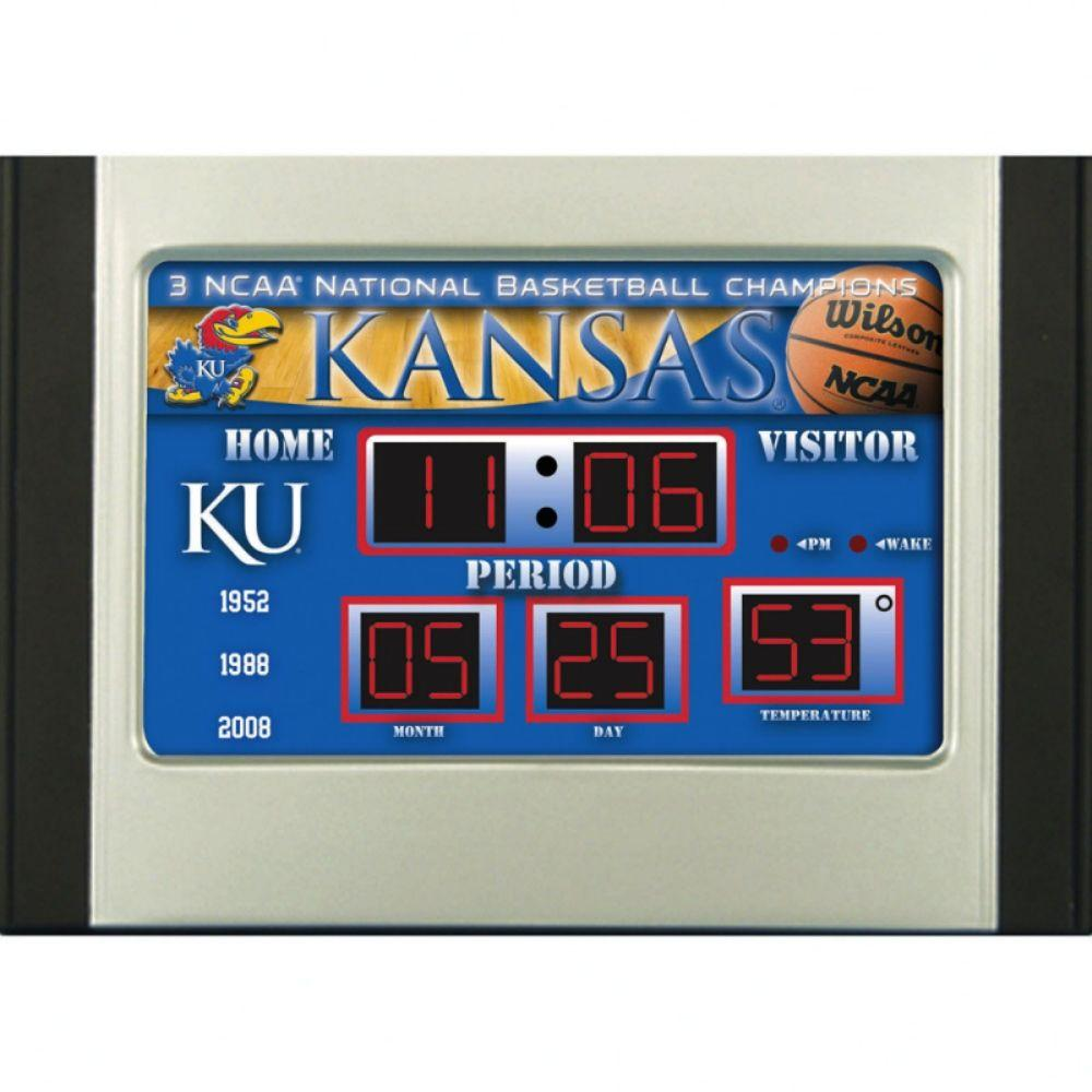 null University of Kansas 6.5 in. x 9 in. Scoreboard Alarm Clock with Temperature