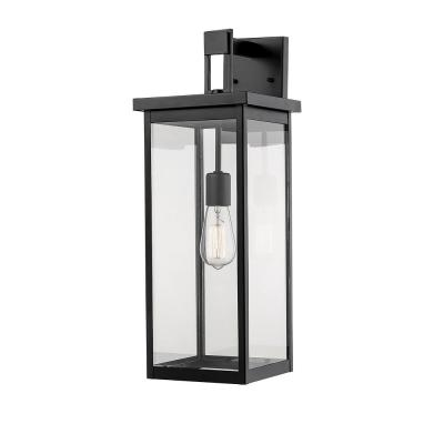 22 in. 1-Light Powder Coat Black Outdoor Wall-Light Sconce with Clear Glass