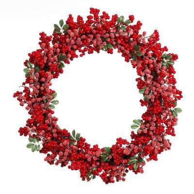 28 in. Artificial Christmas Grapevine Wreath with Red Berries