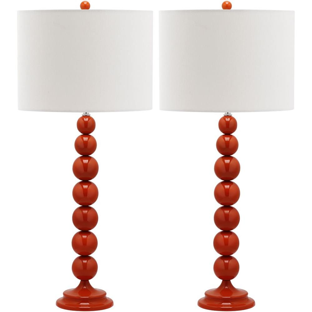 Safavieh Jenna 31 In. Blood Orange Stacked Ball Lamp (Set Of 2)