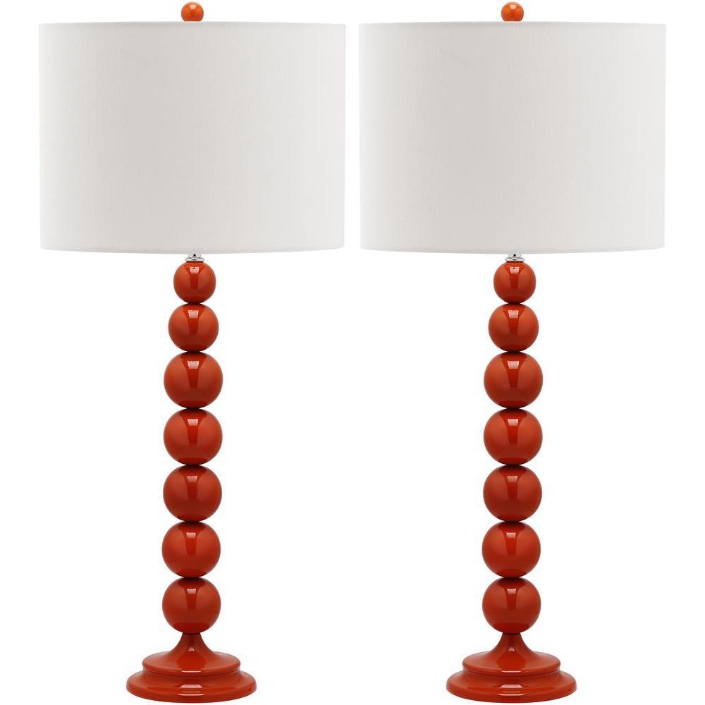 Jenna 31 in. Blood Orange Stacked Ball Lamp (Set of 2)