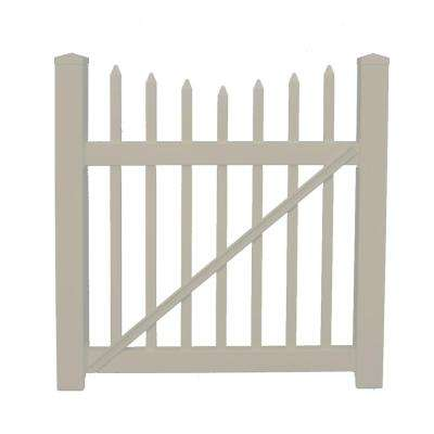 Stratford 4 ft. W x 5 ft. H Khaki Vinyl Picket Fence Gate