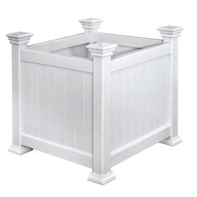 Cardiff 16 in. Square White Vinyl Planter Box