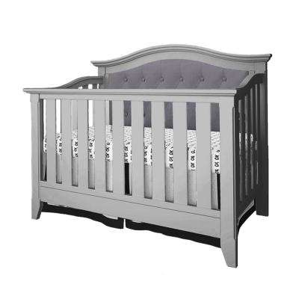 Magnolia Gray and Dark Gray Upholstered 4-in-1 Convertible Crib