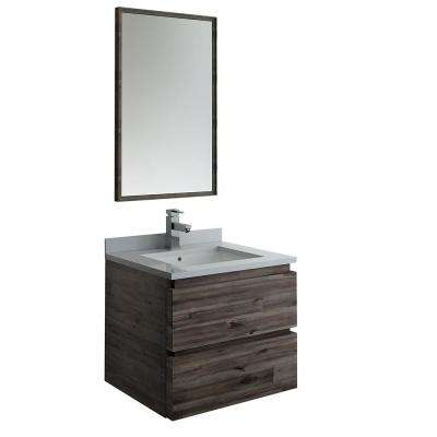 Formosa 24 in. Modern Wall Hung Vanity in Warm Gray with Quartz Stone Vanity Top in White with White Basin and Mirror