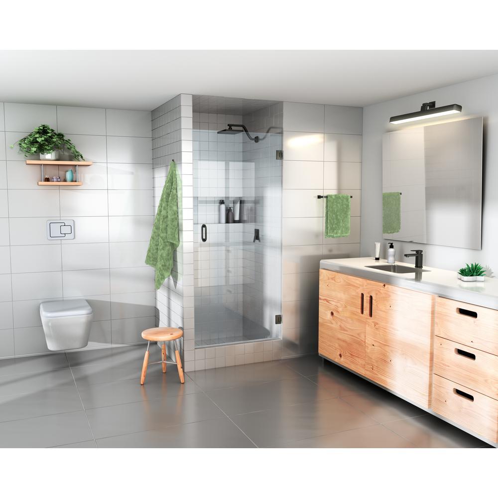 27 in.  x 78 in.  Frameless Hinged Shower Door in Oil Rub Bronze with Handle Door Only
