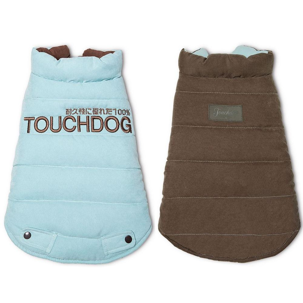 Medium Blue and Brown Waggin Swag Reversible Insulated Pet Coat