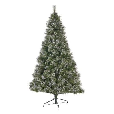 7 ft. Unlit Mixed Spruce Hinged Artificial Christmas Tree with Snow Branches and Frosted Pinecones