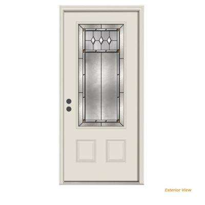 36 in. x 80 in. 3/4 Lite Mission Prairie Primed Steel Prehung Right-Hand Inswing Front Door w/Brickmould