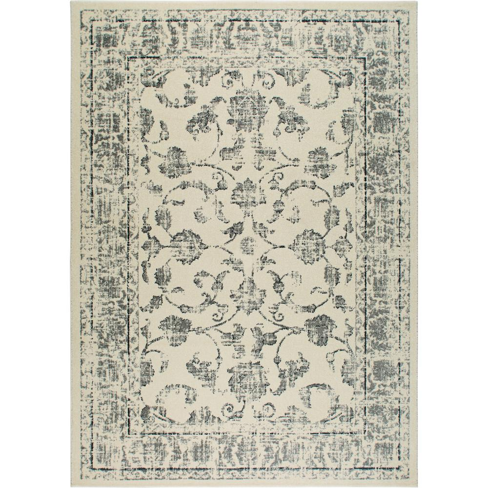 Home Dynamix Vintage Ivory Gray 2 Ft X 4 Ft Indoor Area Rug 26an