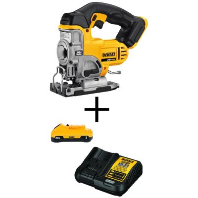 20-Volt MAX Lithium-Ion Cordless Jig Saw (Tool-Only) with 20-Volt MAX 3.0Ah Battery and Charger