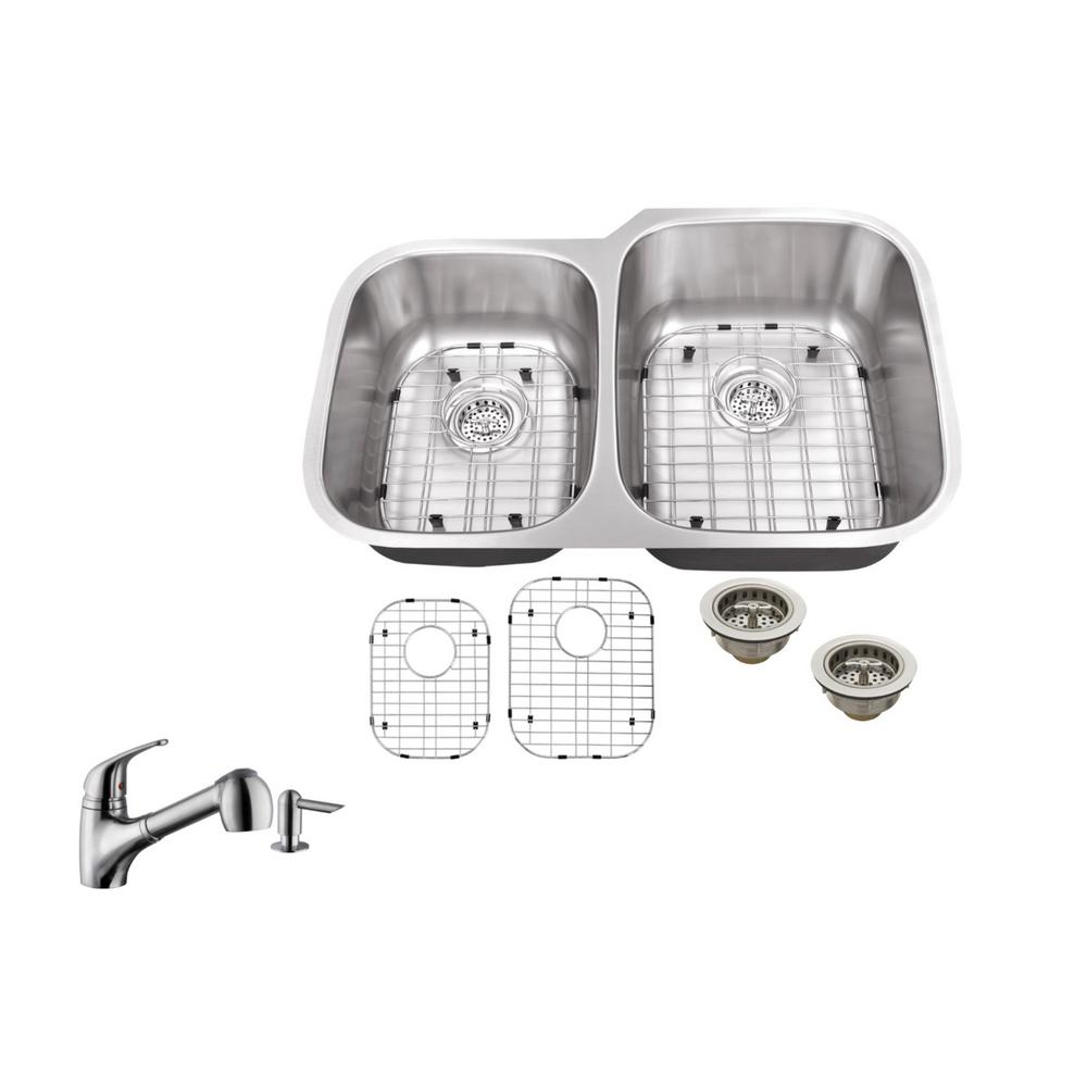 ipt sink company undermount 32 in  16 gauge stainless steel kitchen sink in brushed stainless with low profile pull out kitchen faucet iptlx4060p5828   the     ipt sink company undermount 32 in  16 gauge stainless steel      rh   homedepot com