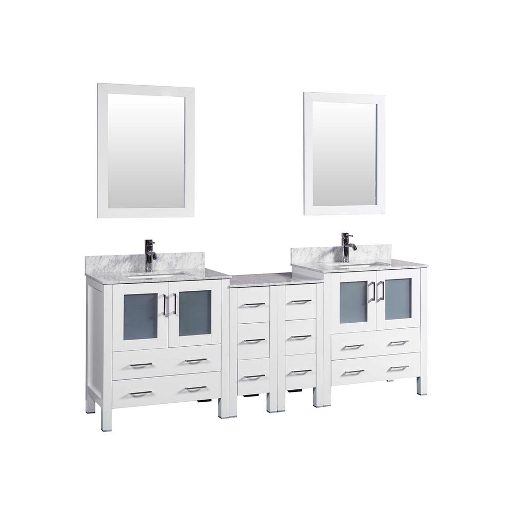 84 in. W Double Bath Vanity in White with Carrara Marble