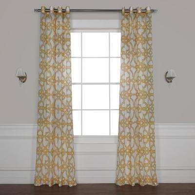 SeaGlass Yellow Grommet Printed Sheer Curtain - 50 in. W x 84 in. L