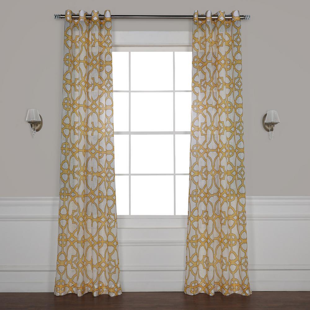 Exclusive Fabrics Furnishings Seaglass Yellow Grommet Printed