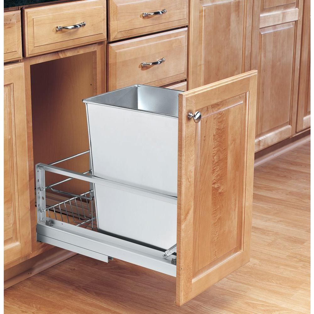Rev-A-Shelf 19.125 in. H x 10.75 in. W x 21.938 in. D Single 32 Qt. Pull-Out Brushed Aluminum and Stainless Steel Waste Container
