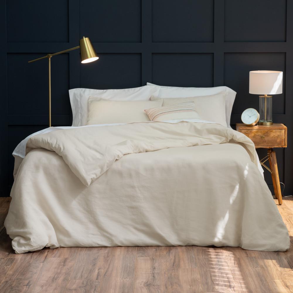 The Relaxed Linen Cotton Oatmeal King Duvet Cover Set