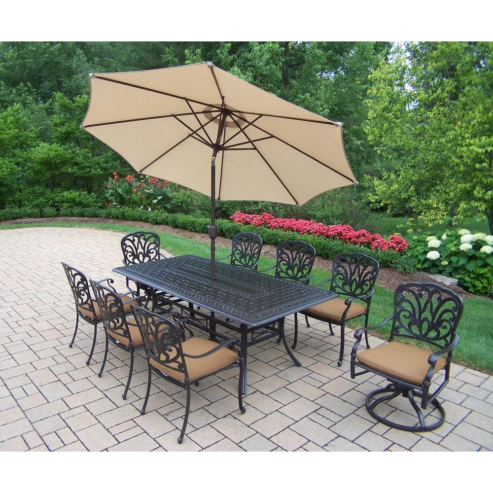 Oakland Living Cast Aluminum 11 Piece Rectangular Patio Dining Set With  Sunbrella Cushions And Umbrella