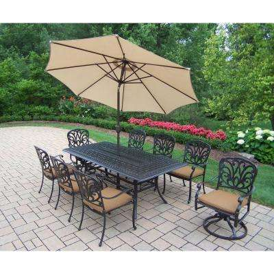 Cast Aluminum 11 Piece Rectangular Patio Dining Set With Sunbrella Cushions  And Umbrella