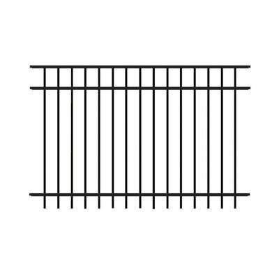 Natural Reflections Standard-Duty 4 ft. H x 6 ft. W Black Aluminum Pre-Assembled Fence Panel