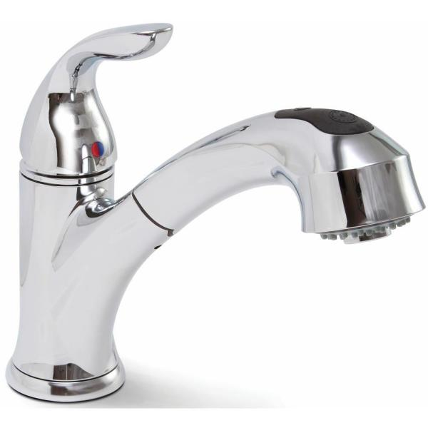 Waterfront Single-Handle Pull-Out Sprayer Kitchen Faucet in Chrome