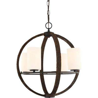 4-Light Indoor Bronze Walnut Orb/Sphere/Cross/Globe Hanging Chandelier with White Cased Glass Cylinder Shades