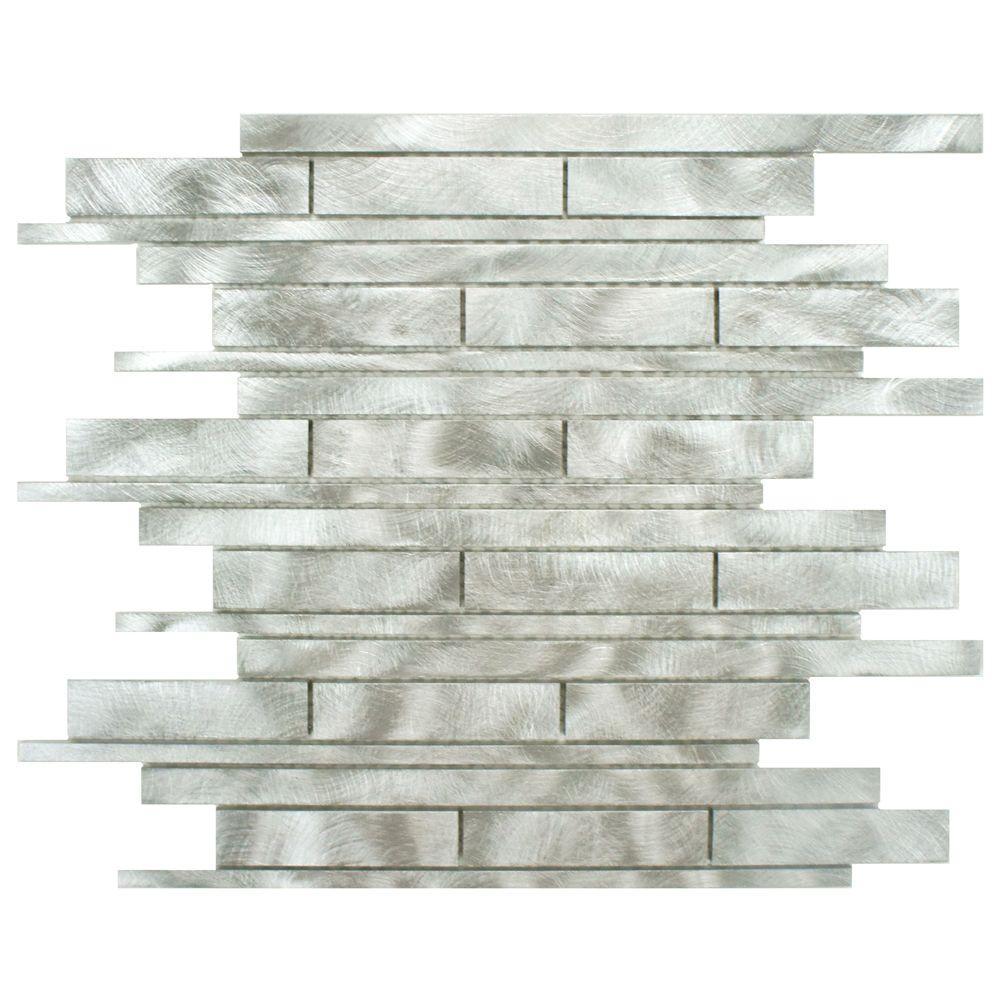 Merola Tile Alumina Linear Palladium 11-3/4 in. x 12 in. x 8 mm Brushed Aluminum Mosaic Tile