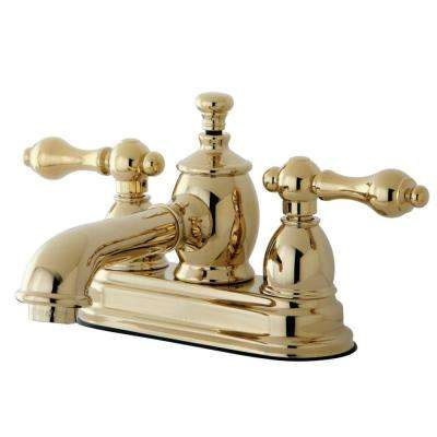 English Country 4 in. Centerset 2-Handle Bathroom Faucet in Polished Brass