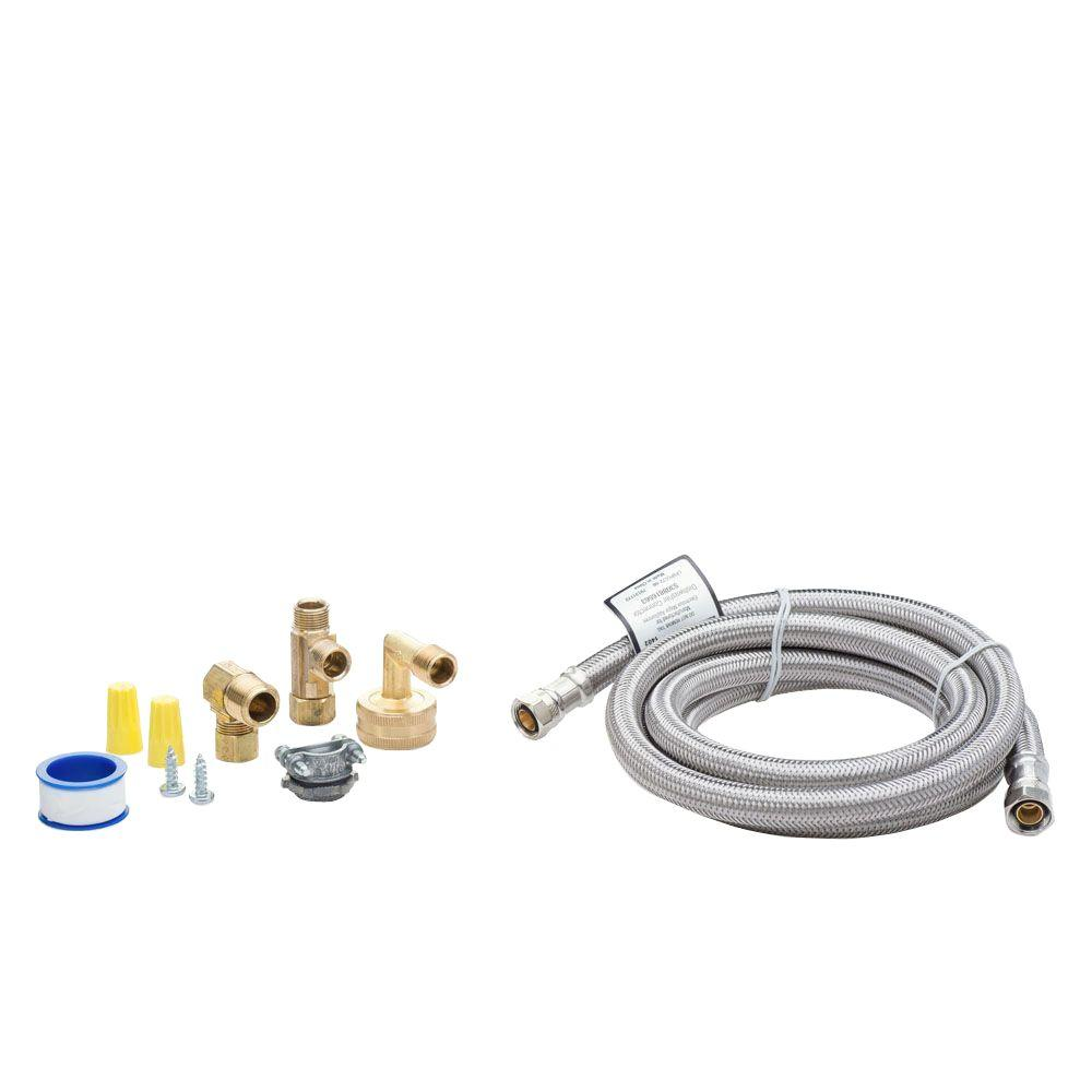 Smart Choice 6 ft. Stainless Steel Dishwasher Installation Kit No Cord Smart Choice Dishwasher Installation Kit provides the parts needed to install an under counter dishwasher. Kit includes 6 ft. long braided stainless steel dishwasher water line, 3/4 in. garden hose elbow, 3/8 in. water line elbow, 3/8 in. water line tee, Romex connector, Teflon pipe thread sealant and hardware