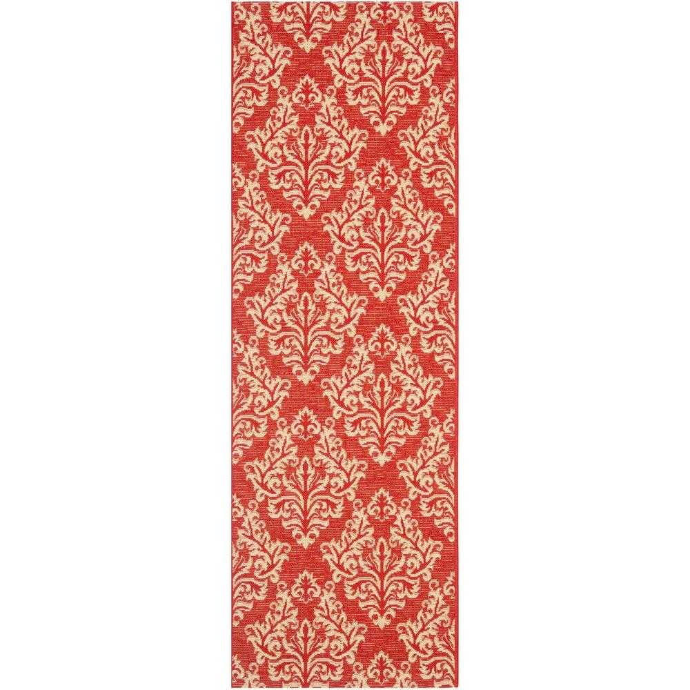 Safavieh courtyard red cream 2 ft 3 in x 10 ft indoor for Cream and red rugs