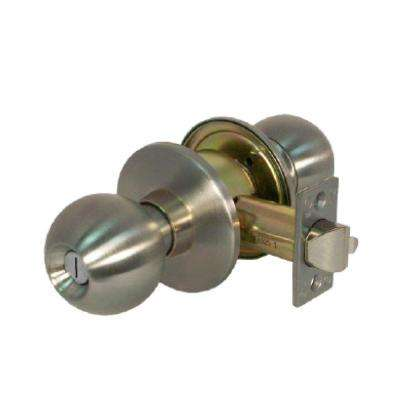 Heavy Duty Grade 1 Cylindrical Privacy Bed/Bath Function Door Knob in Satin Stainless Steel