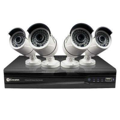 8-Channel 1280TVL 3MP Network Video Recorder and 4 x NHD-815 3MP Cameras