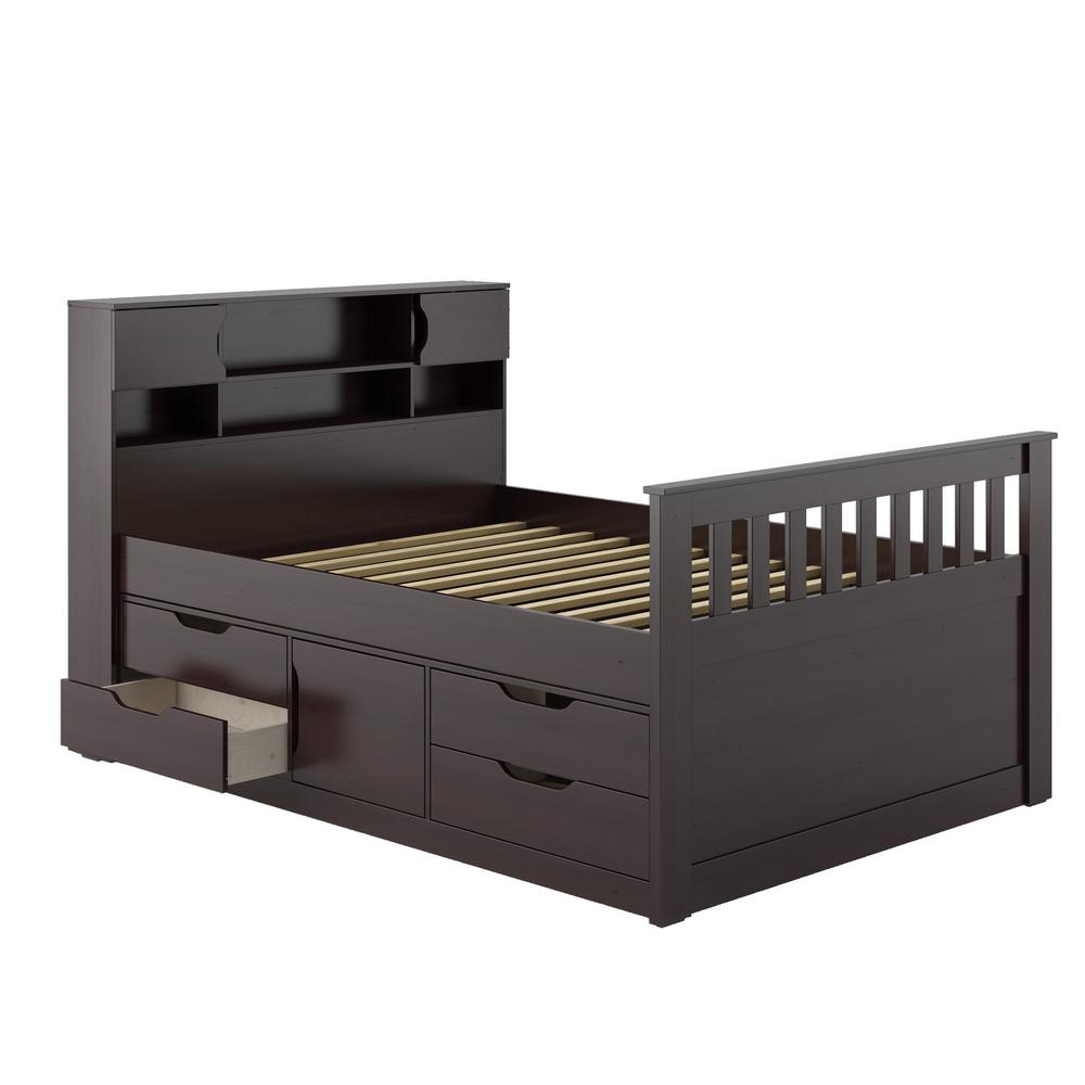 Corliving Rich Espresso Full Double Captains Bed Madison