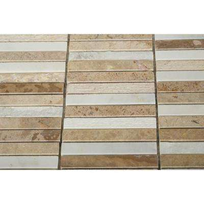 Exterior Tech Beige Brick Joint 12 in. x 12 in Polished Marble Mosaic Tile  (1 sq. ft.)