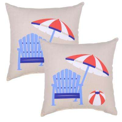 Periwinkle Adirondack Square Outdoor Throw Pillow (Pack of 2)