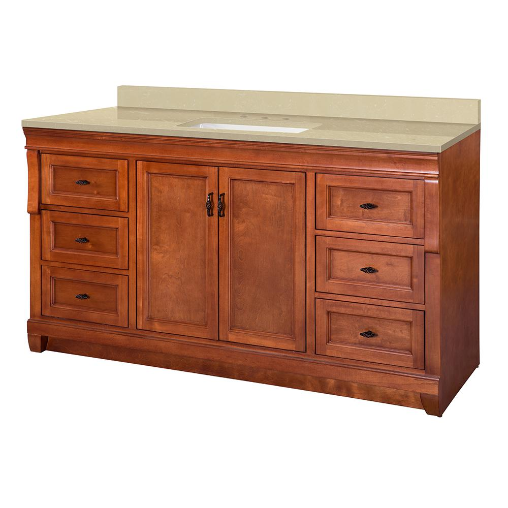 Home Decorators Collection Naples 61 in. W x 22 in. D Vanity in Warm Cinnamon with Engineered Marble Vanity Top in Crema Limestone with White Sink