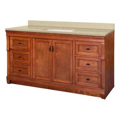 Naples 61 in. W x 22 in. D Vanity in Warm Cinnamon with Engineered Marble Vanity Top in Crema Limestone with White Sink