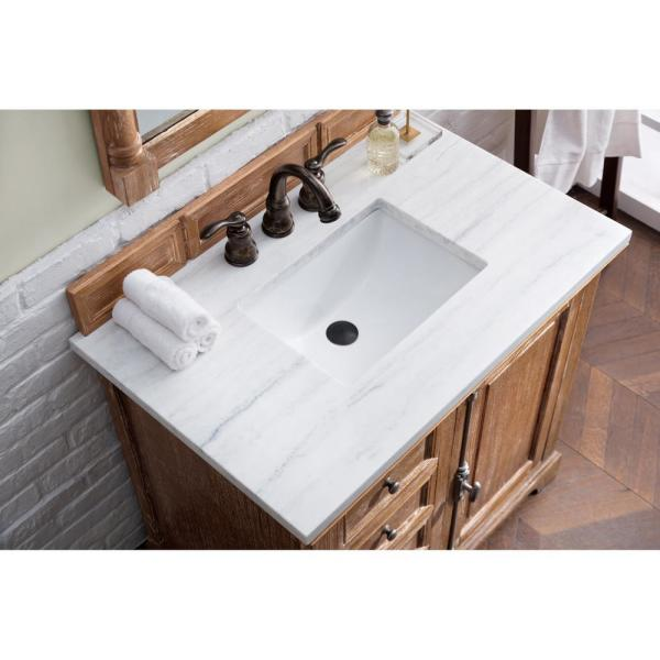 Providence 36 in. Single Vanity in Driftwood with Solid Surface Vanity Top in Arctic Fall with White Basin