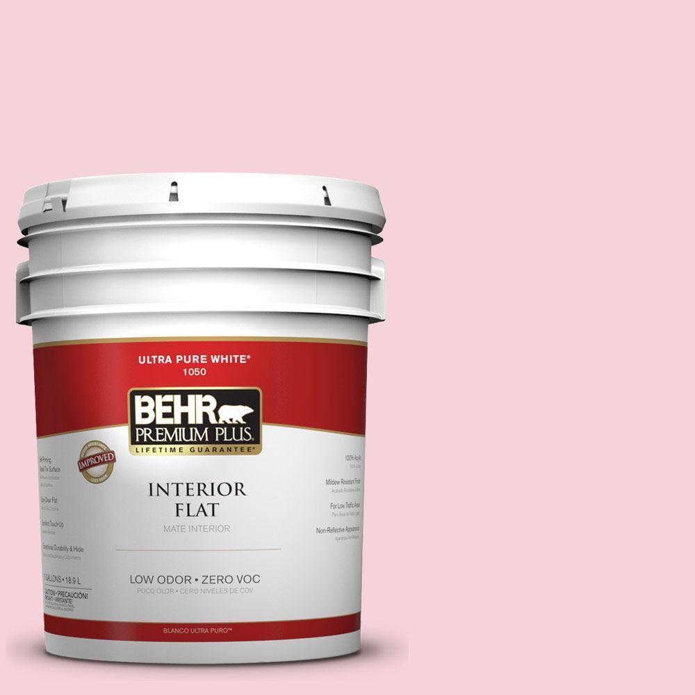 BEHR Premium Plus 5-gal. #110C-1 Petal Bloom Zero VOC Flat Interior Paint-DISCONTINUED