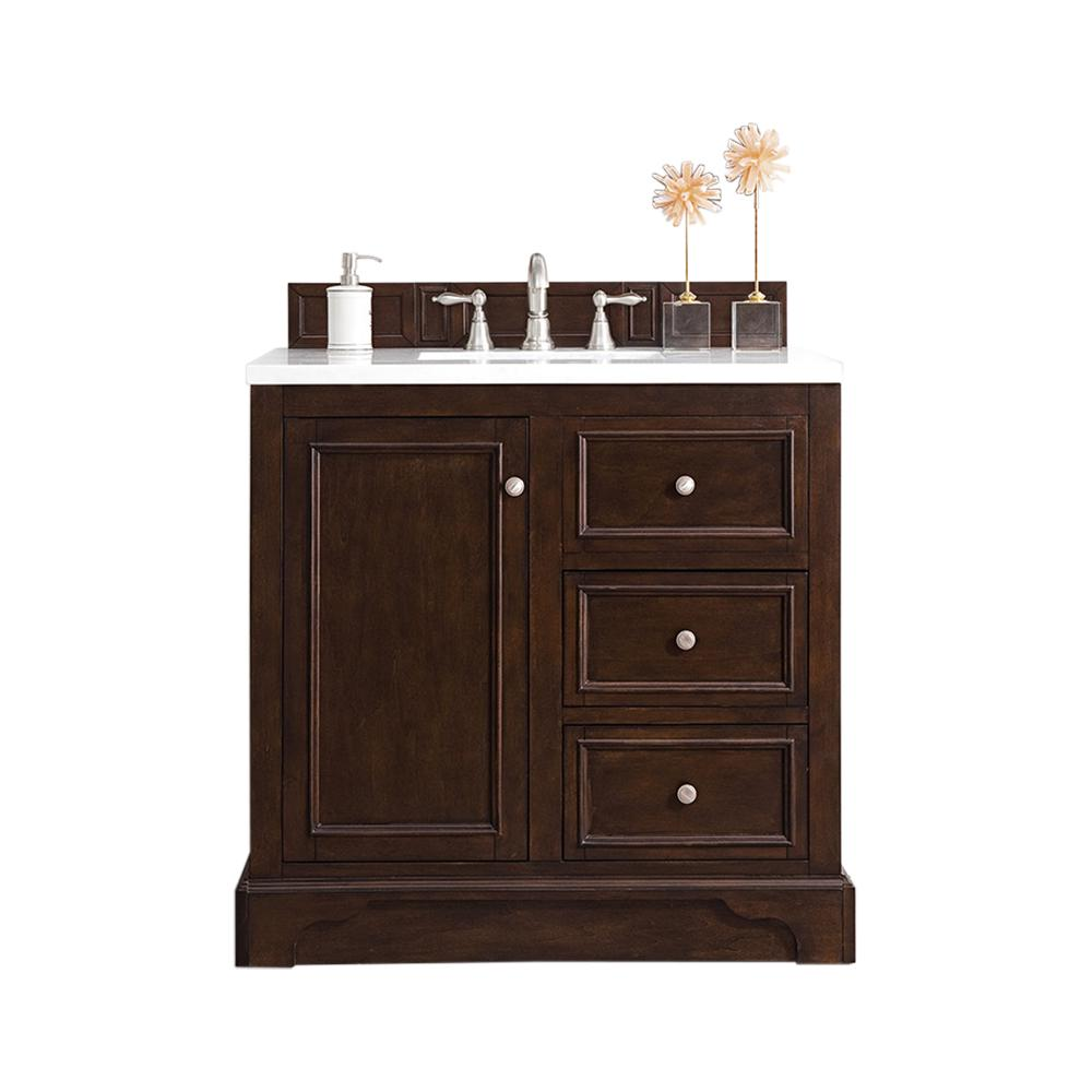 James Martin Signature Vanities De Soto 36 in. W Single Vanity in Burnished Mahogany with Marble Vanity Top in Carrara White with White Basin