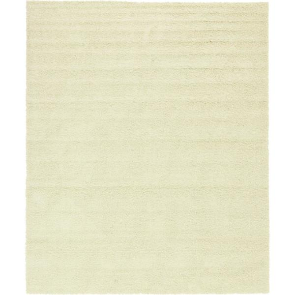 Solid Shag Pure Ivory 12 ft. x 15 ft. Area Rug