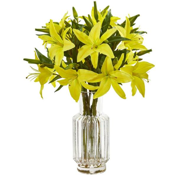 Nearly Natural Indoor Lily Artificial Arrangement in Glass Vase