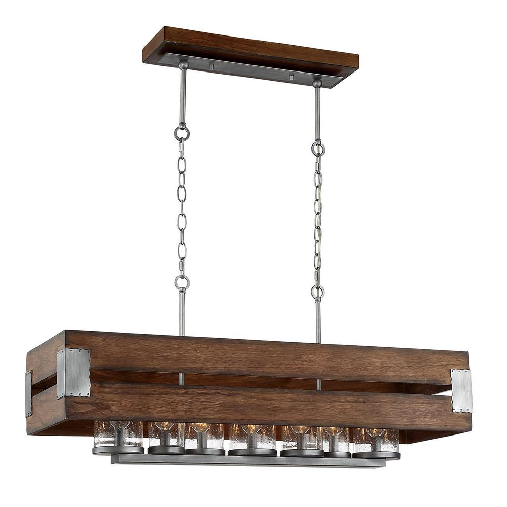Home Decorators Collection Ackwood 7 Light Dark Wood Rectangular Chandelier With Clear Seeded Gl Shades