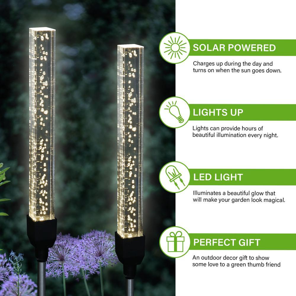 White Solar Hanging Light Sticks for Patio /& Backyard Glow-in-The-Dark Bubble Sticks Exhart 4Pc Solar Acrylic Bubble Stick w//Clear White LED Lights 1L x 1W x 10H 4-Pack LED Bubble Stick Set