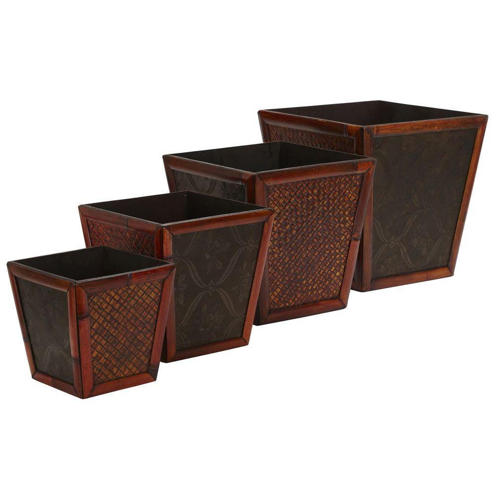 Nearly Natural 14 in. H Burgundy Bamboo Square Decorative Planters (Set of 4)