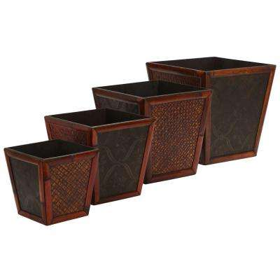 14 in. H Burgundy Bamboo Square Decorative Planters (Set of 4)
