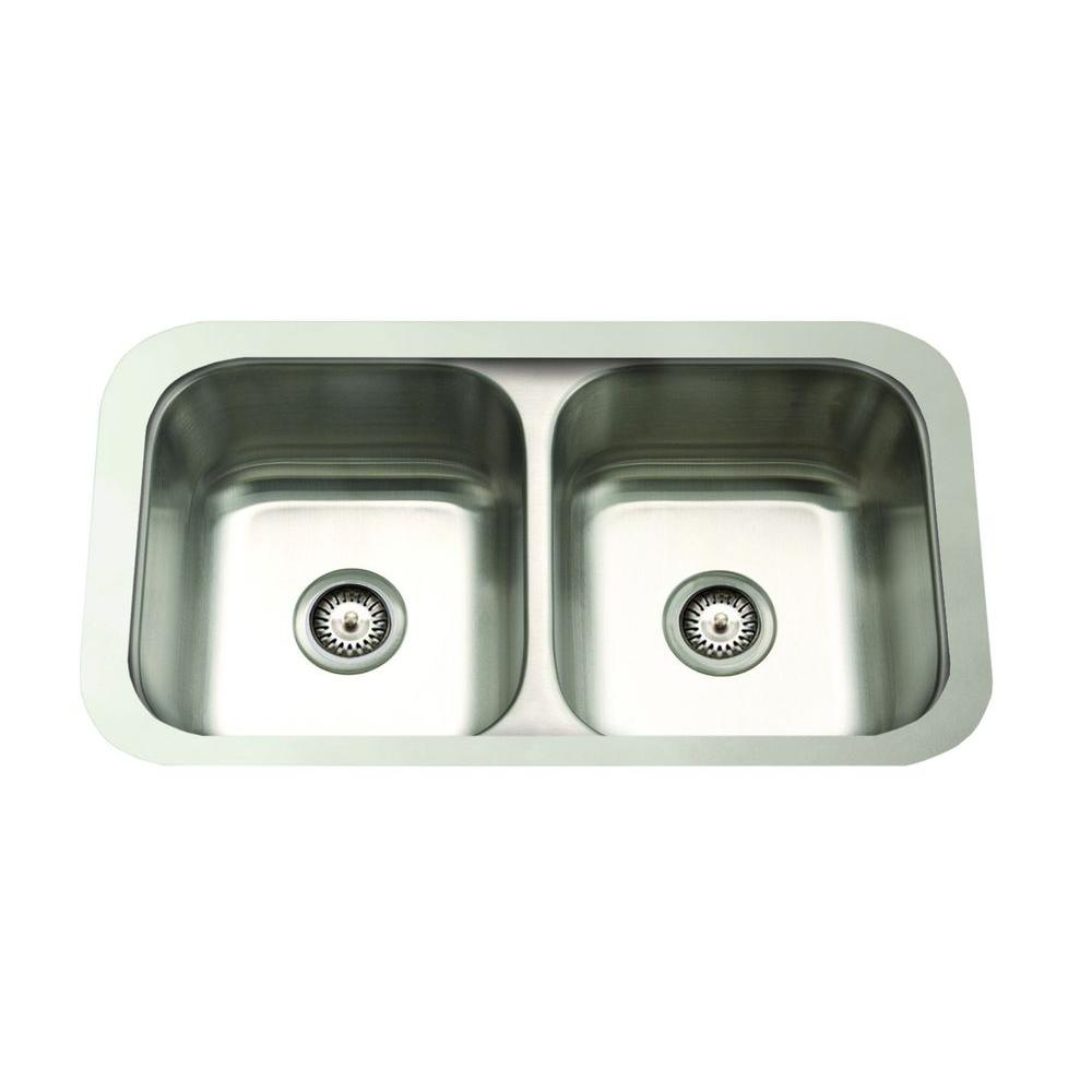 Cantrio Undermount Stainless Steel 31 in. Double Bowl Kitchen Sink