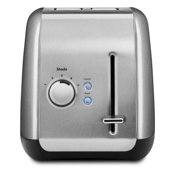 2-Slice Silver Wide Slot Toaster with Crumb Tray and Shade Control Settings