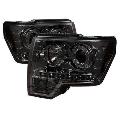 Ford F150 09-14 Projector Headlights - Halogen Model Only - LED Halo - Smoke